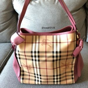 NWT Auth Burberry leather Bowtie Check Tote